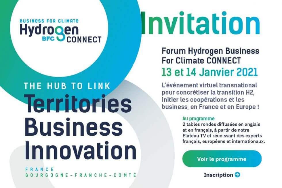 invitation au Forum Hydrogen Business For Climate CONNECT les 13 et 14 janvier 2021