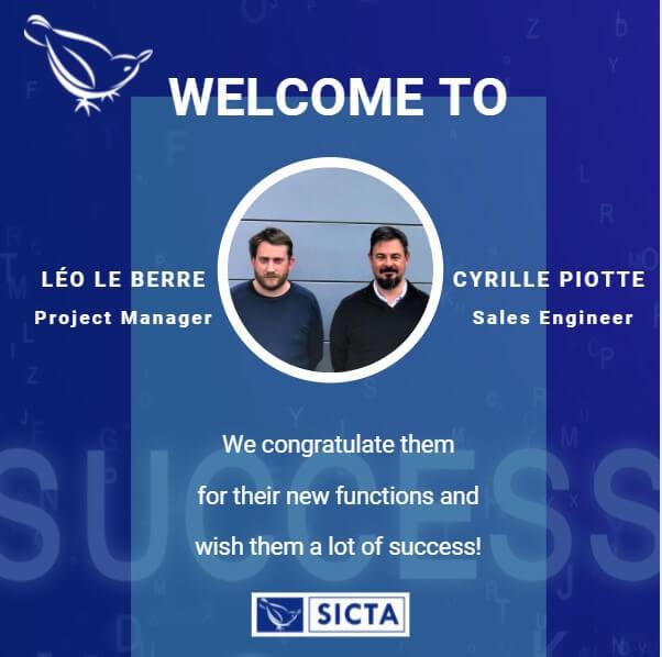 Cyrille PIOTTE et Léo LE BERRE intègrent l'équipe de SICTA